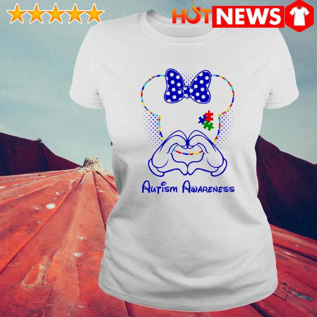 Minnie mouse love Autism Awareness s 6 HNT Ladie White