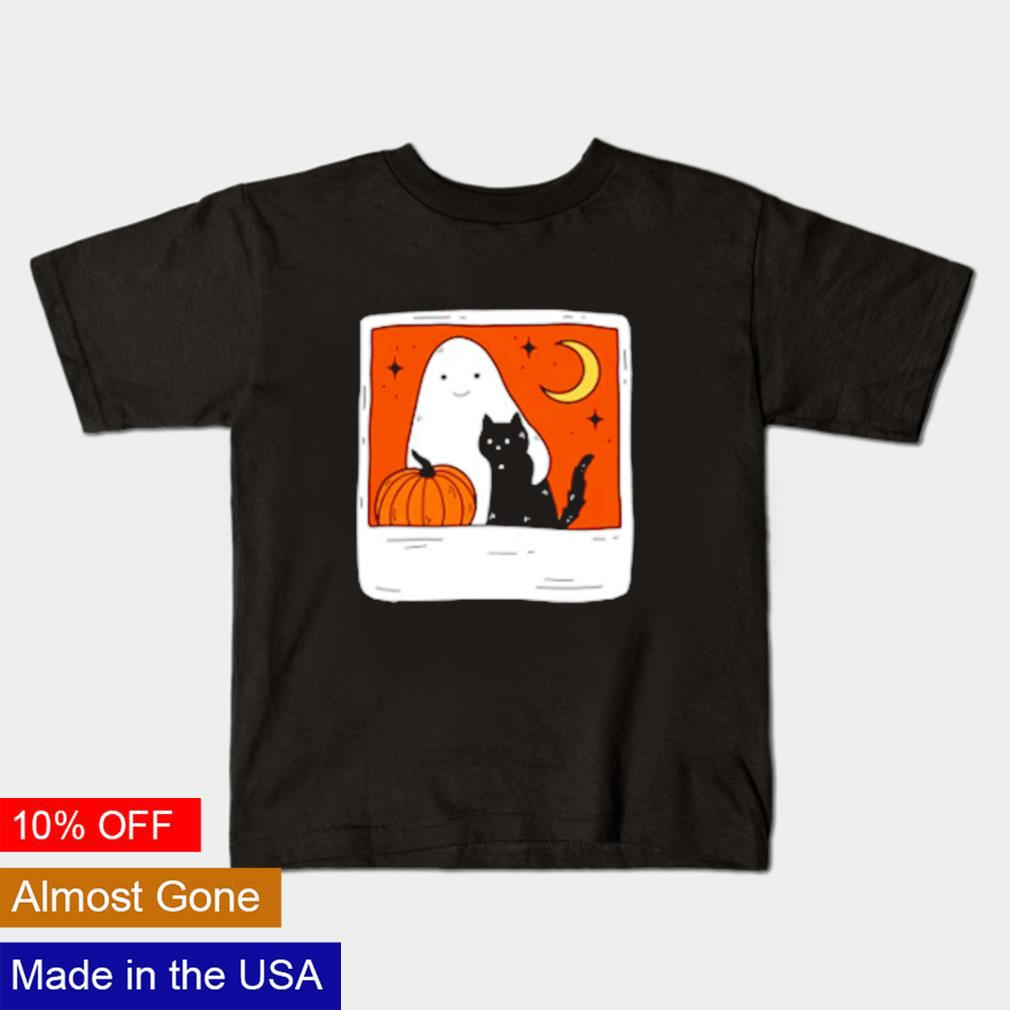 Ghost and Cat October Forever Halloween shirt