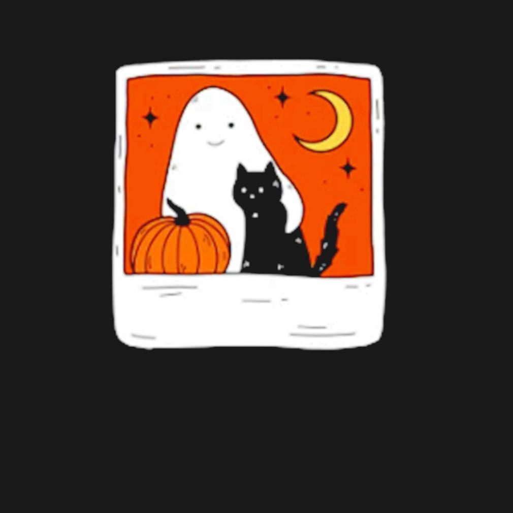 Ghost and Cat October Forever Halloween s t-shirt