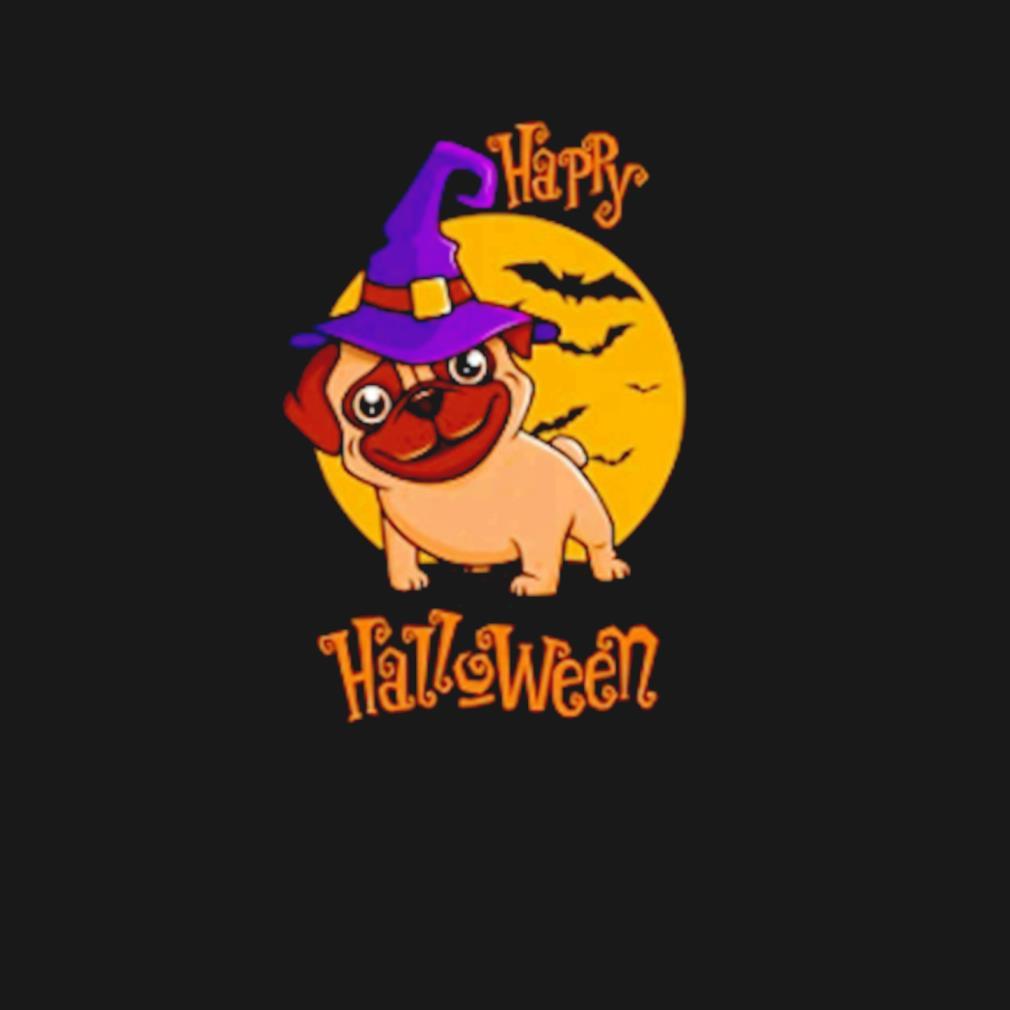 Happy Halloween witch hat pug dog s t-shirt