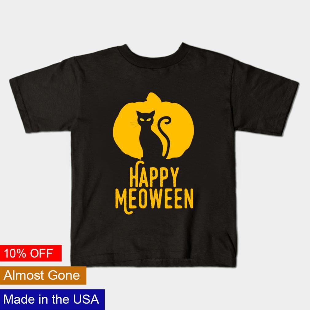 Happy meoween Halloween orange pumpkin cat silhouette shirt
