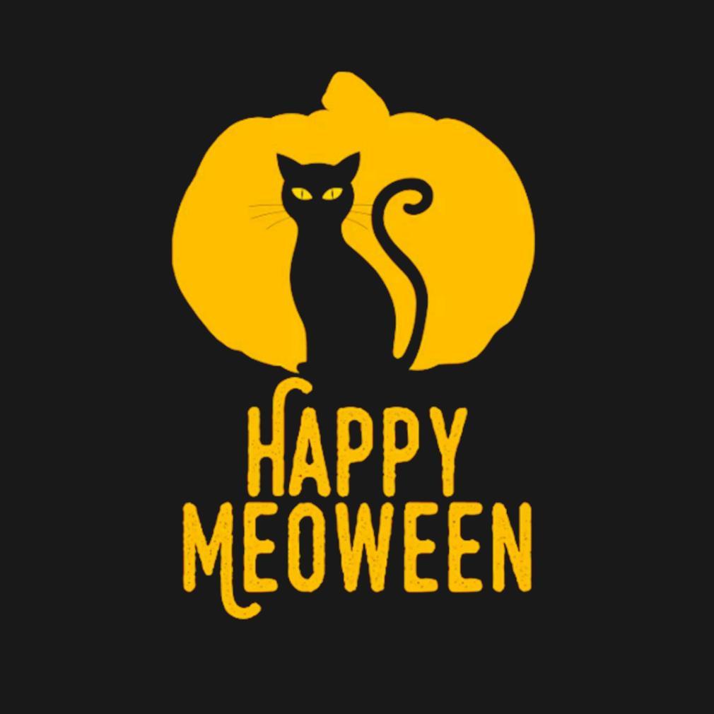 Happy meoween Halloween orange pumpkin cat silhouette s t-shirt
