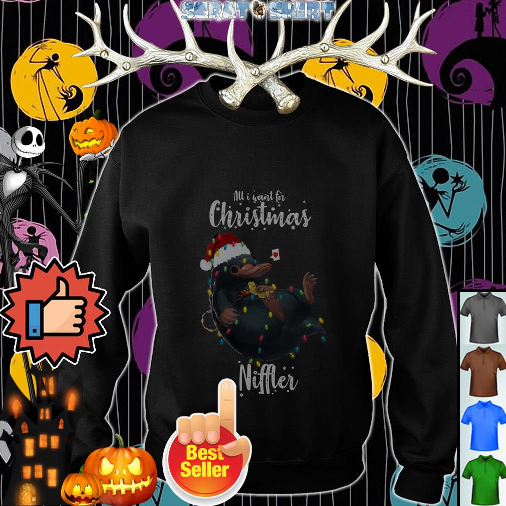 Official All I want for Christmas is a Niffler Ugly Christmas light sweater, shirt