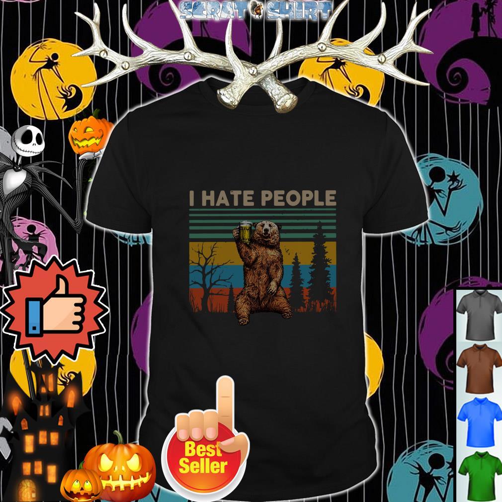 Official Bear drink Beer I hate people vintage shirt