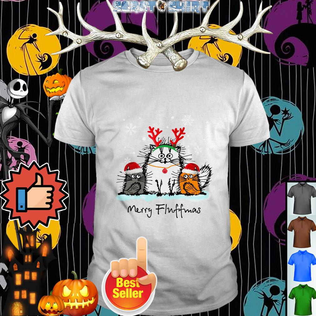 Cat Merry Fluffmas Christmas Guys shirt