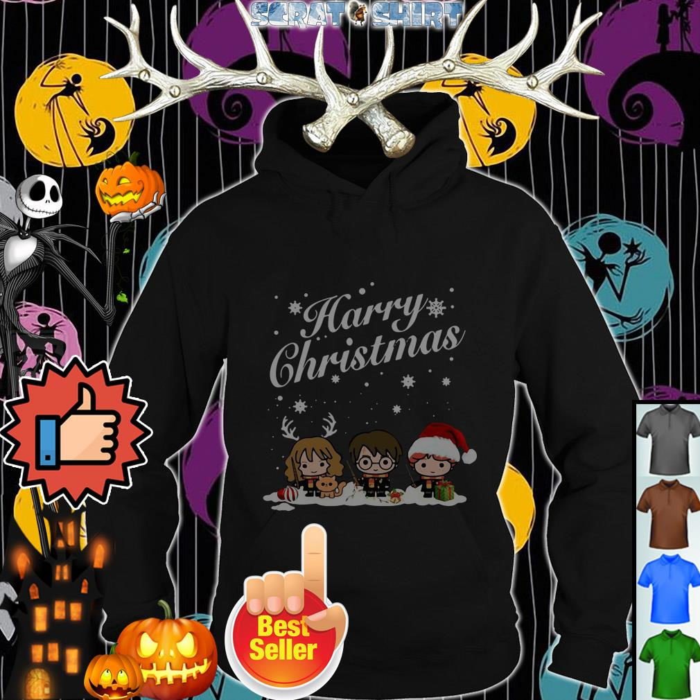 Official Harry chibi Christmas Harry Ron And Hermione ugly Hoodie
