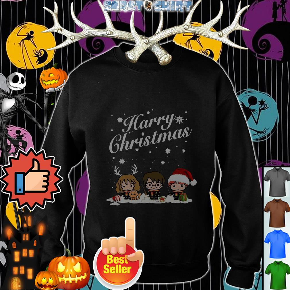 Official Harry chibi Christmas Harry Ron And Hermione ugly sweater, shirt