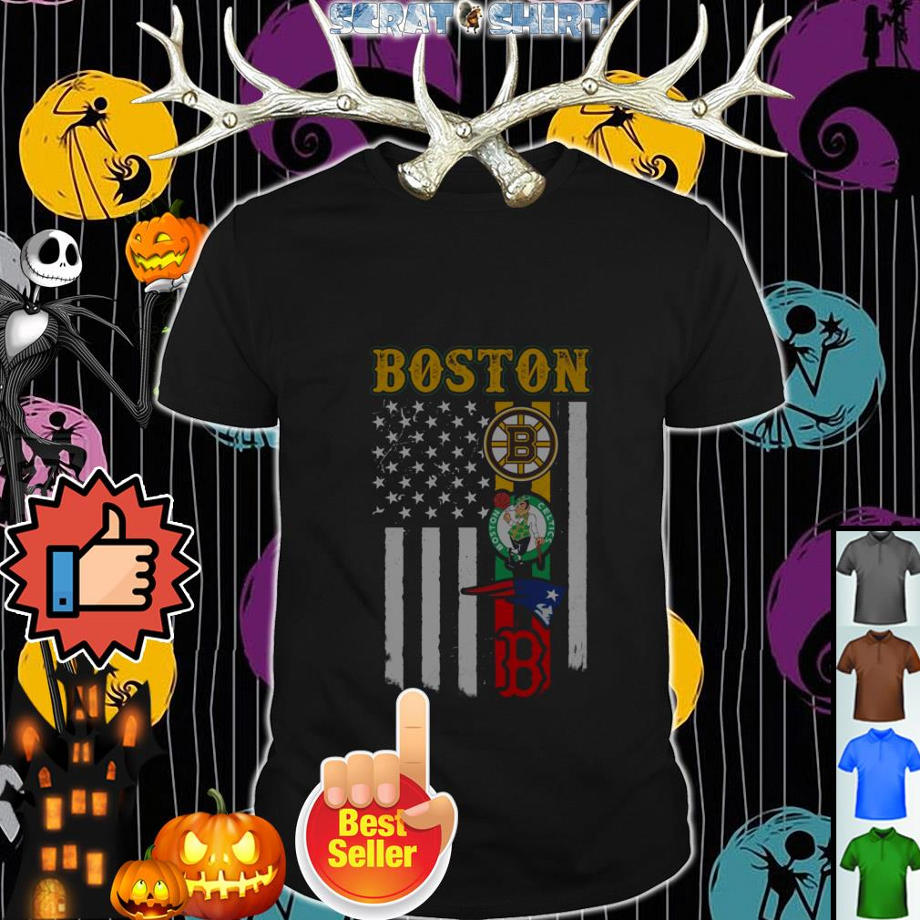 Official New England Patriots Boston Celtics Red Sox Bruins Flag shirt