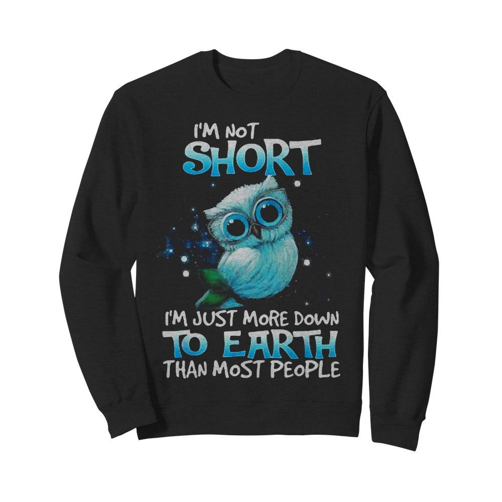 Official Owl I'm Not Short I'm Just More Down To Earth Than Most People Sweater
