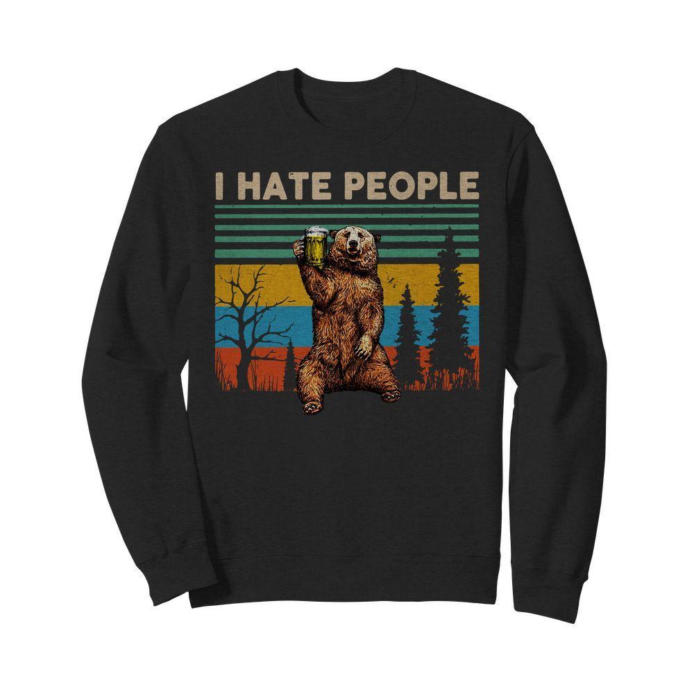 Bear drink Beer I hate people vintage Sweater