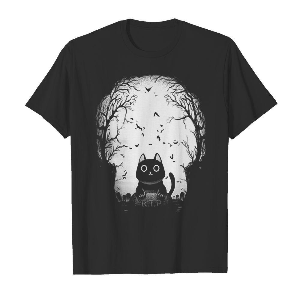 Official Black Cat Gravestone RIP Halloween shirt