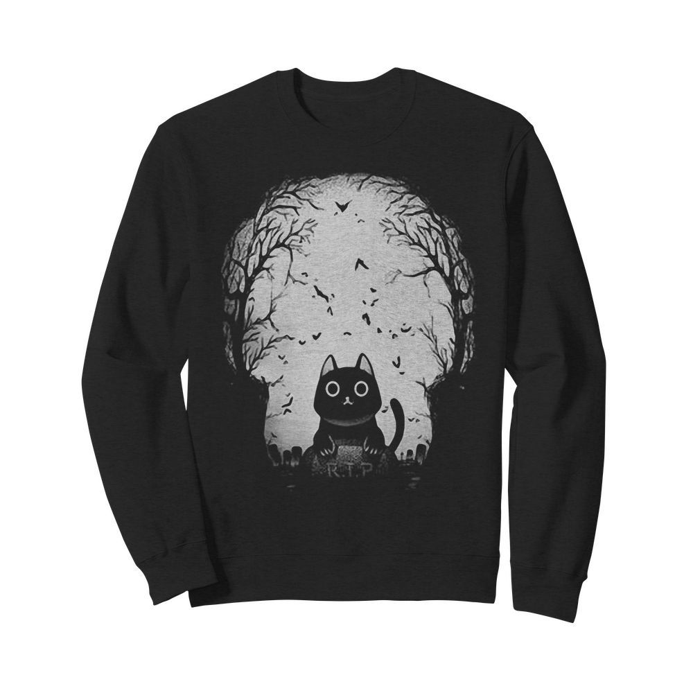 Official Black Cat Gravestone RIP Halloween Sweater