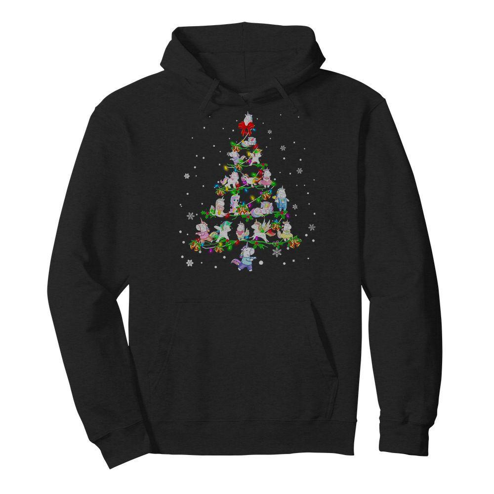Christmas Unicorn Tree Lights Hoodie