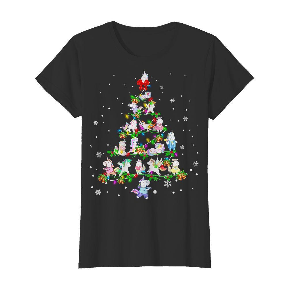 Christmas Unicorn Tree Lights Ladies tee