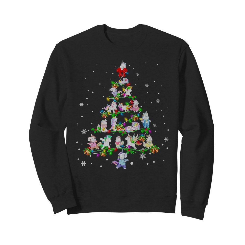 Christmas Unicorn Tree Lights Sweater