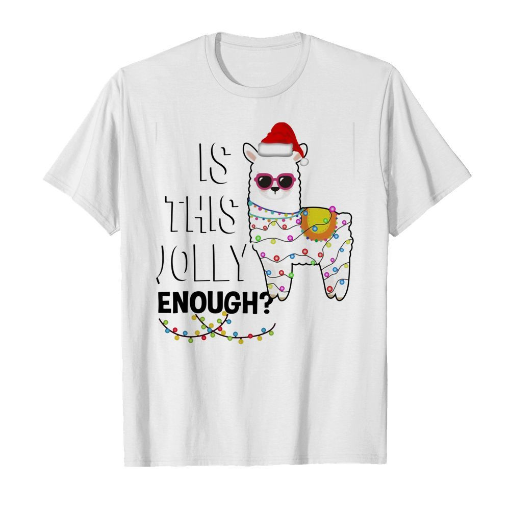 Official Llama is this jolly enough Christmas lights shirt