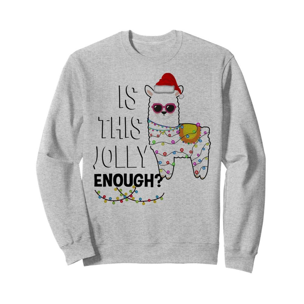 Official Llama is this jolly enough Christmas lights Sweater