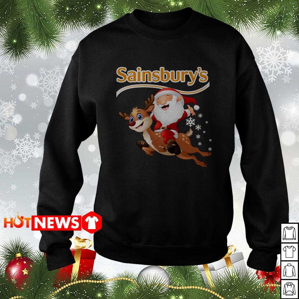 Sainsbury's Santa Claus riding Rudolph Christmas sweater shirt