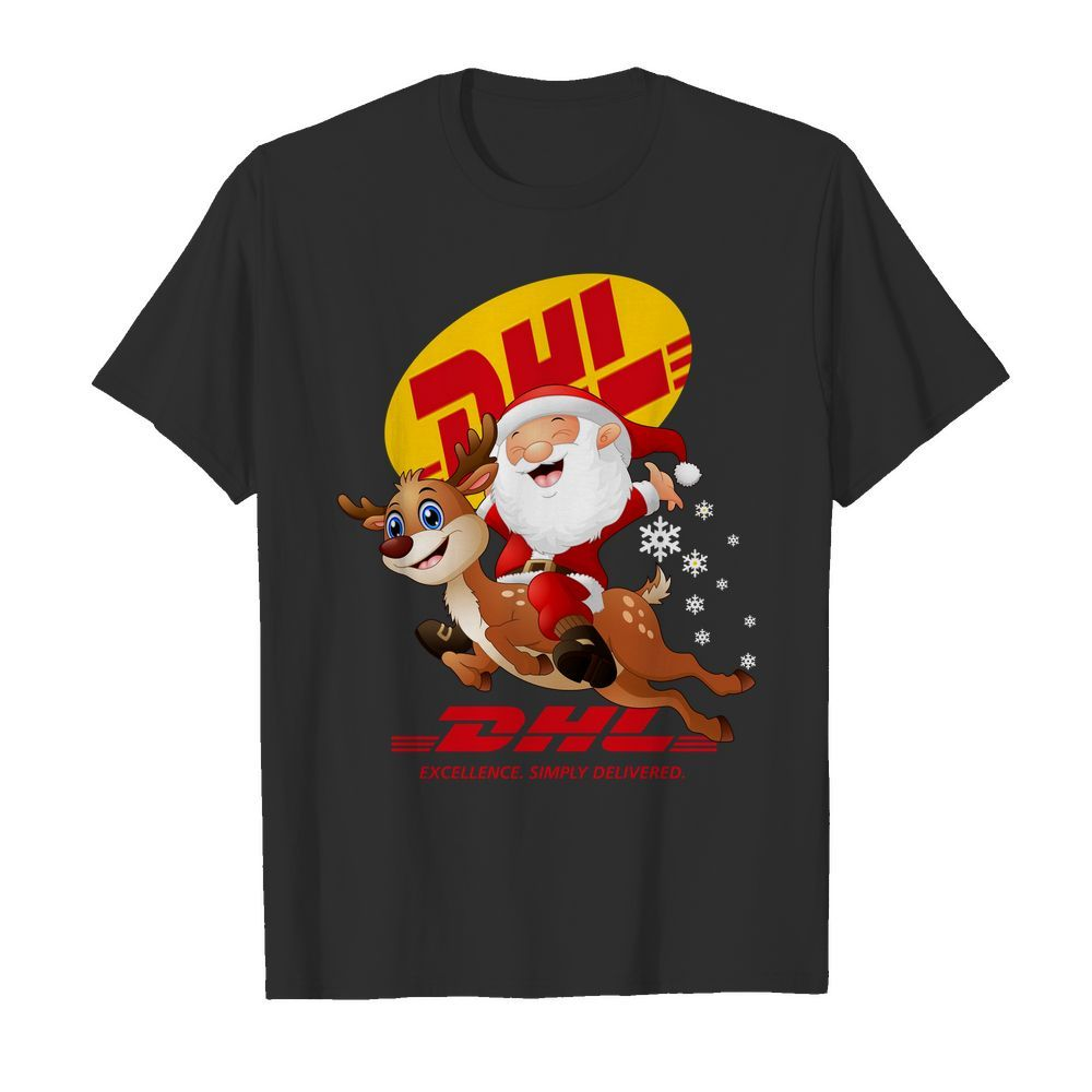 Official Santa Claus Riding Reindeer DHL Excellence Simply Delivered Guys shirt