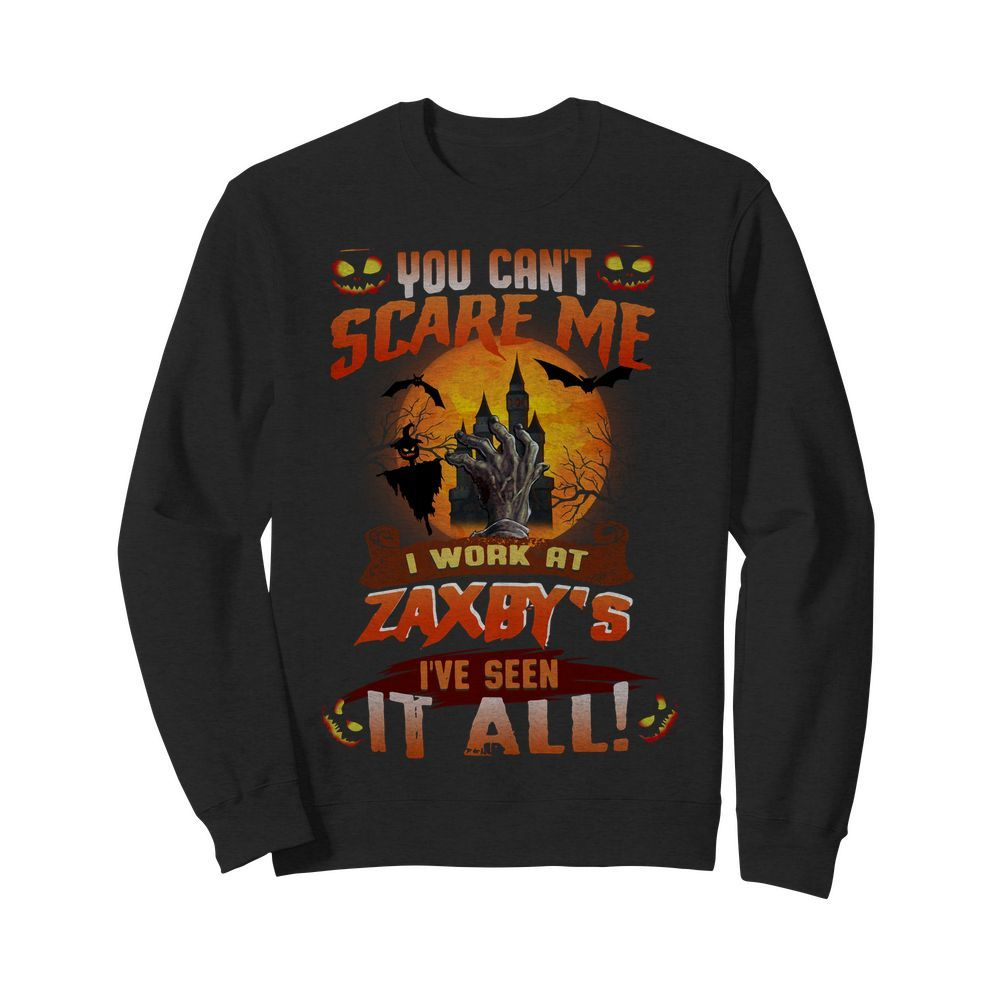 Official You can't scare me I work at Zaxby's I've seen it all Halloween Sweater