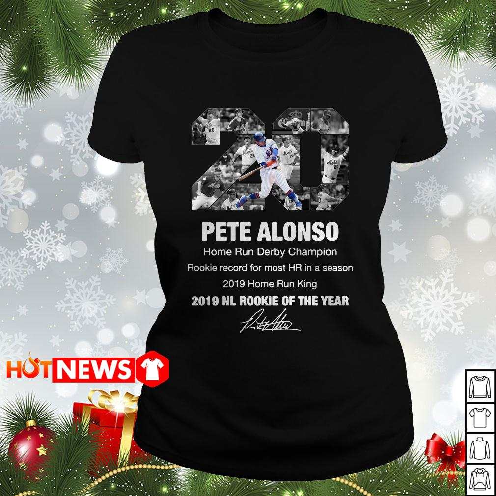 20 Pete Alonso New York Mets 2019 NL rookie of the year signature Ladies tee