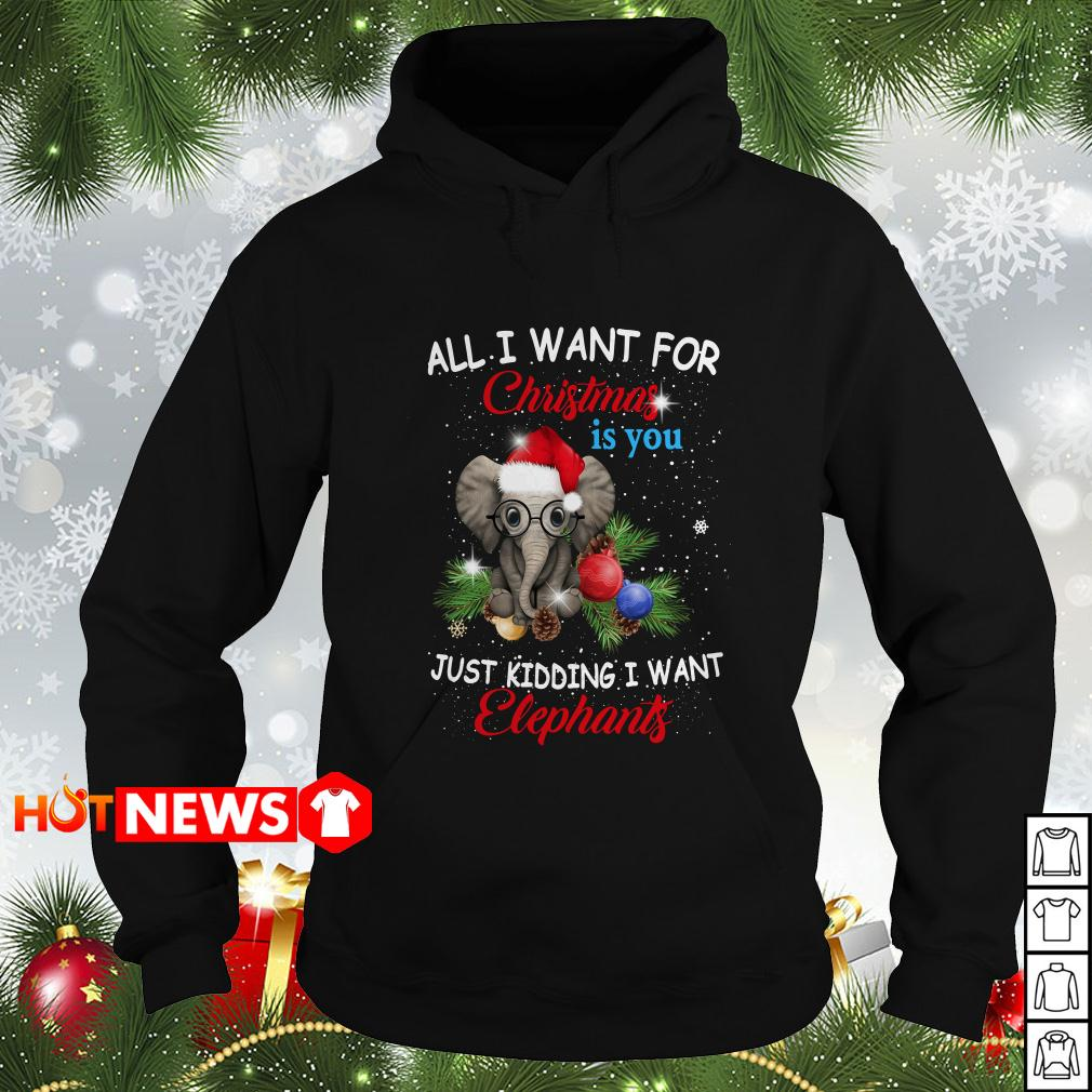 All I want for Christmas is you just kidding I want Elephants Hoodie