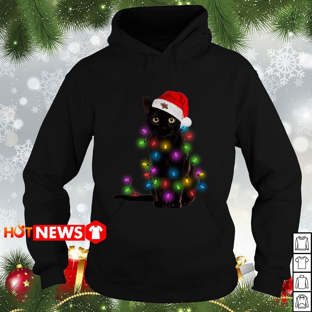 Black cat wearing Santa hat and light Christmas Hoodie