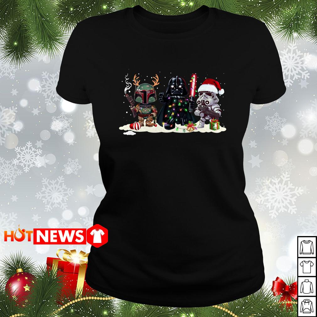 Boba Fett Darth Vader and Stormtrooper Christmas Ladies tee