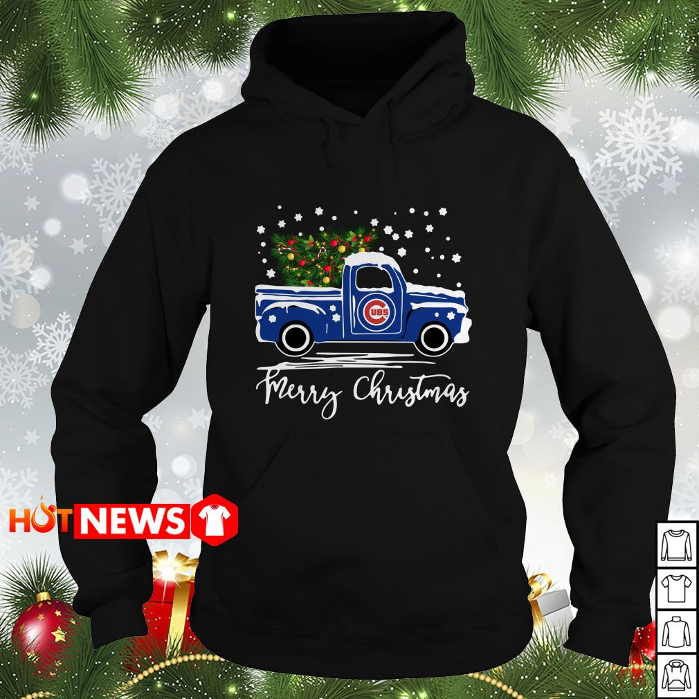 Chicago Cubs pickup truck Merry Christmas Hoodie
