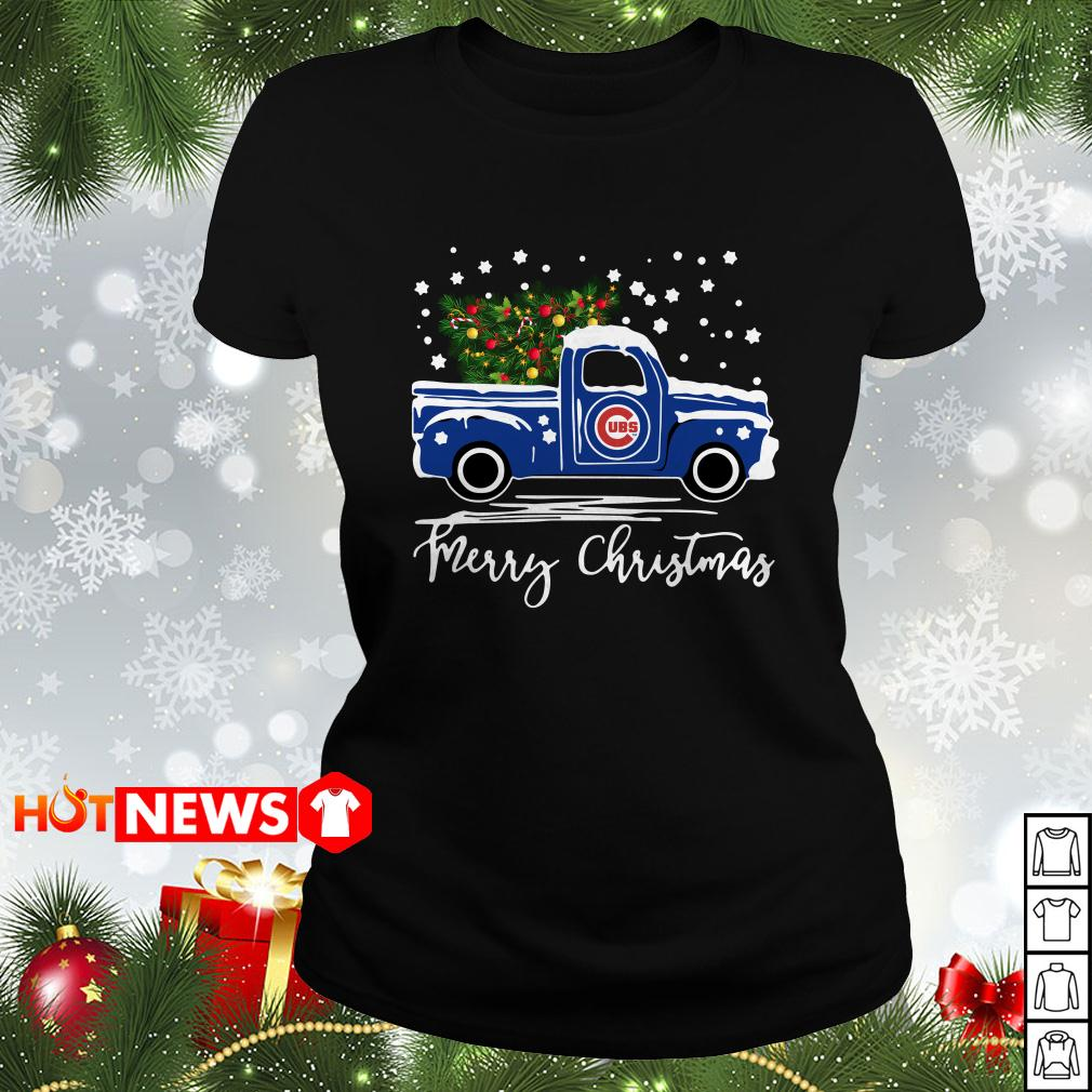 Chicago Cubs pickup truck Merry Christmas Ladies tee