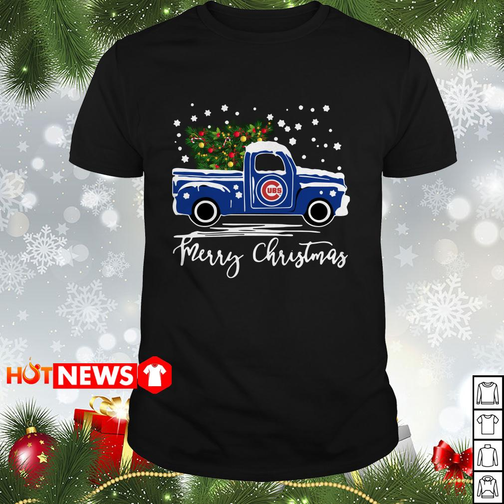 Chicago Cubs pickup truck Merry Christmas Guys shirt