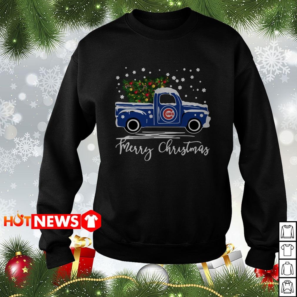 Chicago Cubs pickup truck Merry Christmas sweater