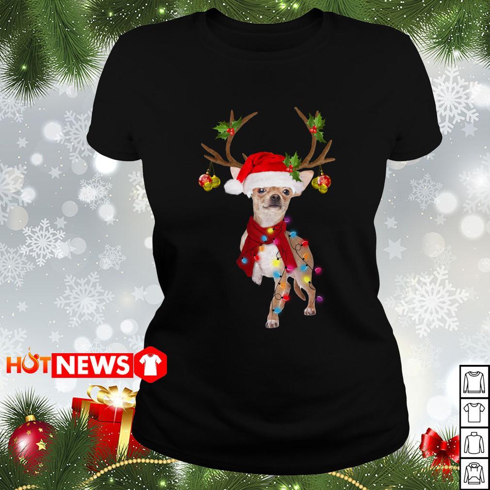 Chihuahua gorgeous reindeer Christmas Ladies tee