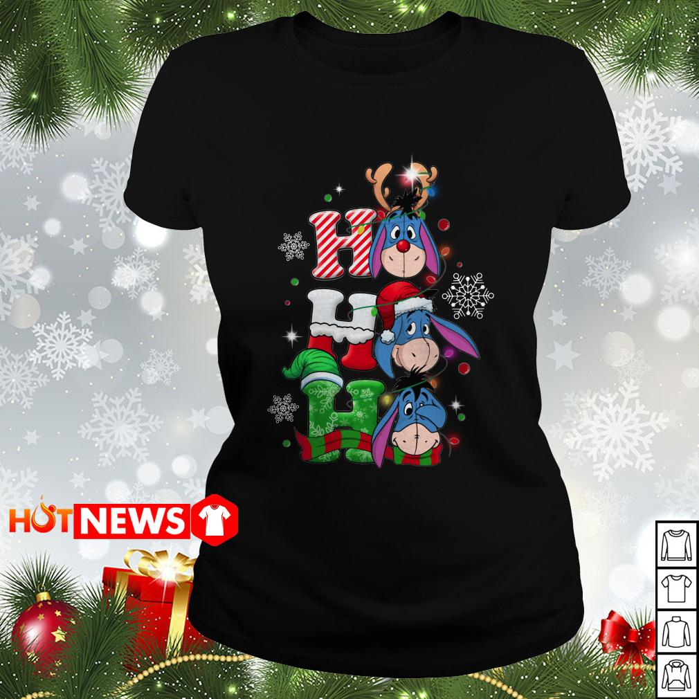 Christmas Ho Ho Ho Santa Reindeer and Eeyore Ladies tee