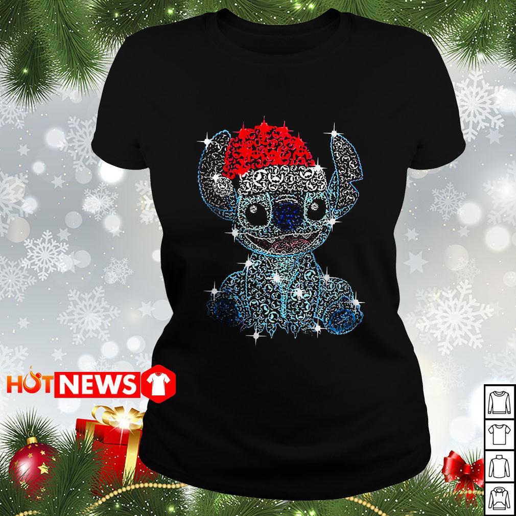 Christmas Stitch rhinestone Santa hat Ladies tee