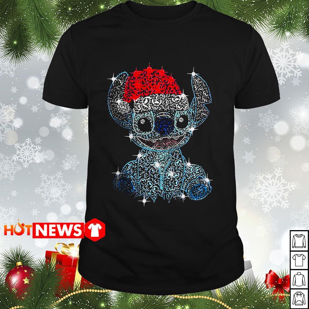 Christmas Stitch rhinestone Santa hat Guys shirt