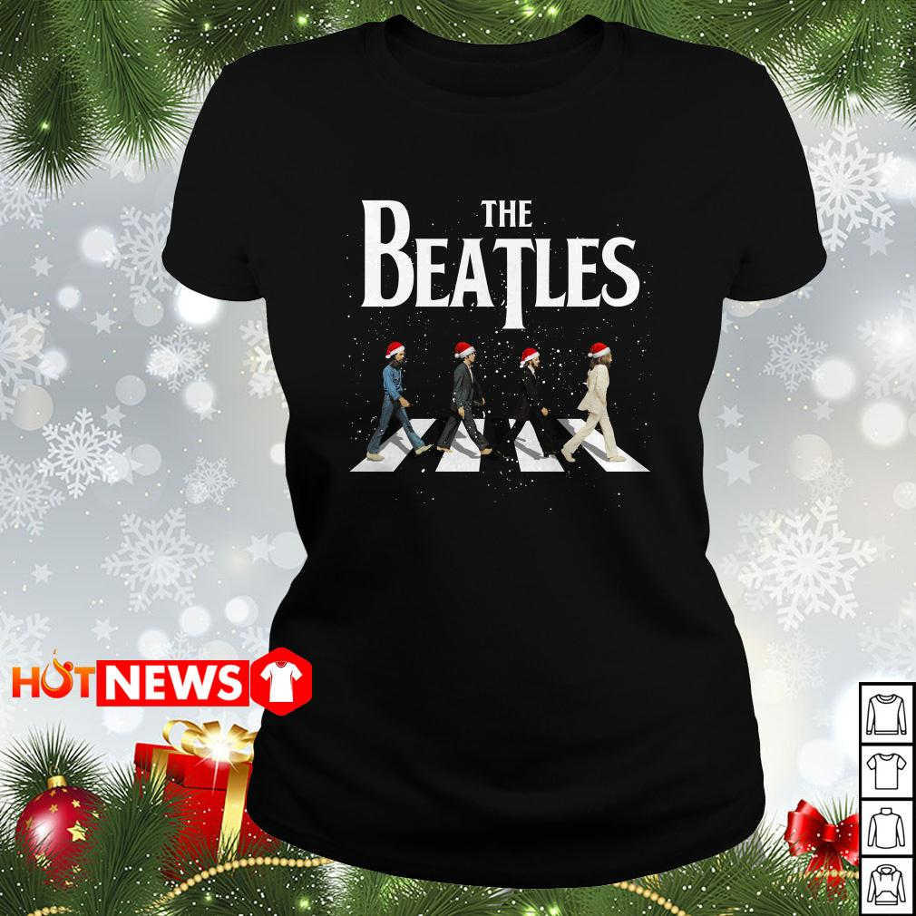 Christmas The Beatles Abbey Road ugly sweater, Ladies tee
