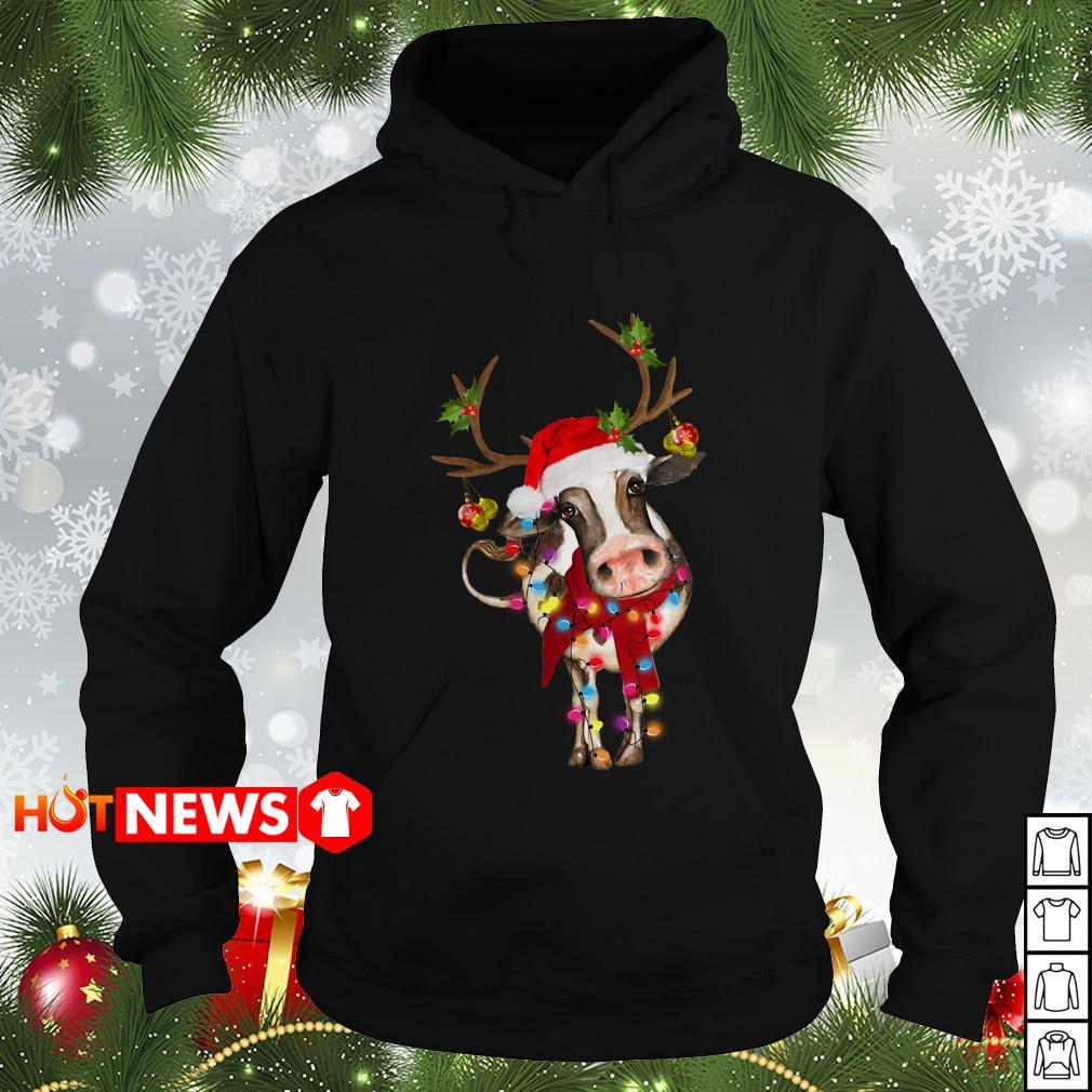 Cow Gorgeous Reindeer Light Christmas Hoodie