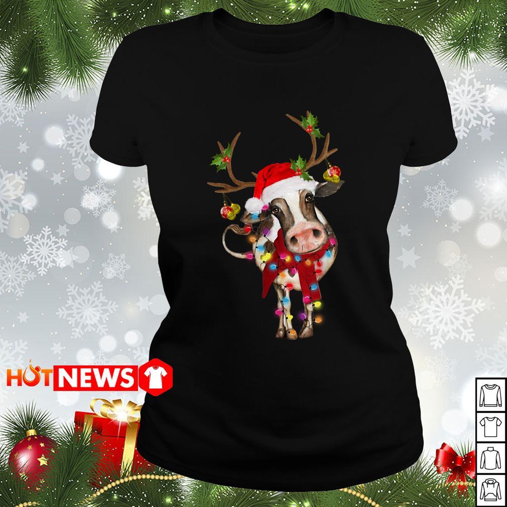 Cow Gorgeous Reindeer Light Christmas Ladies tee