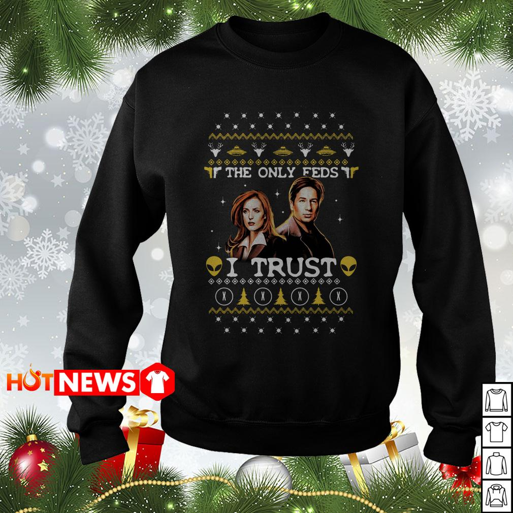 David Duchovny and Gillian Anderson The X-Files The Only Feds I Trust Christmas sweater