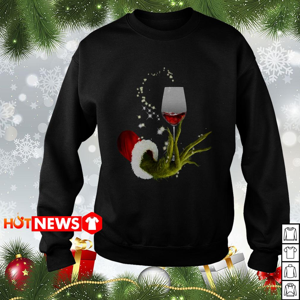 Grinch holding red wine glass Christmas sweater