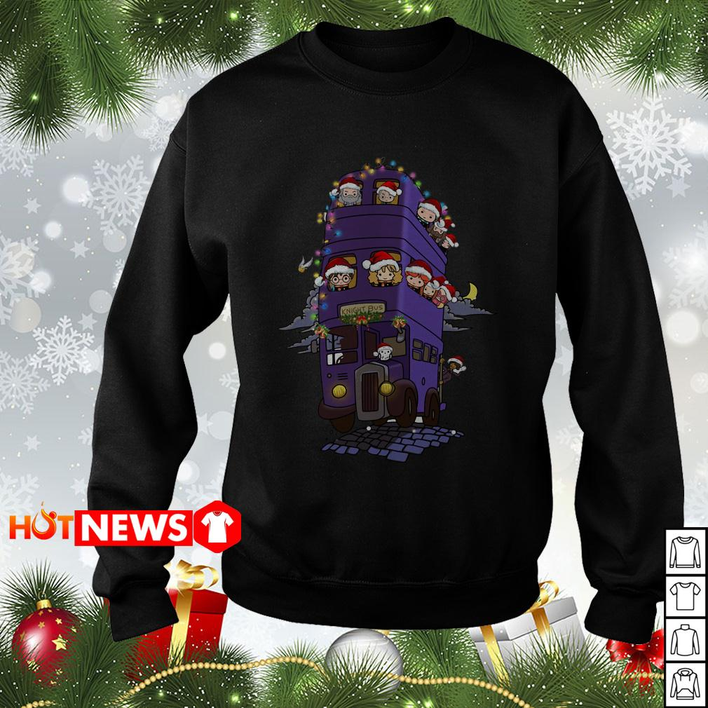 Harry Potter characters chibi on knight bus Christmas sweater, shirt