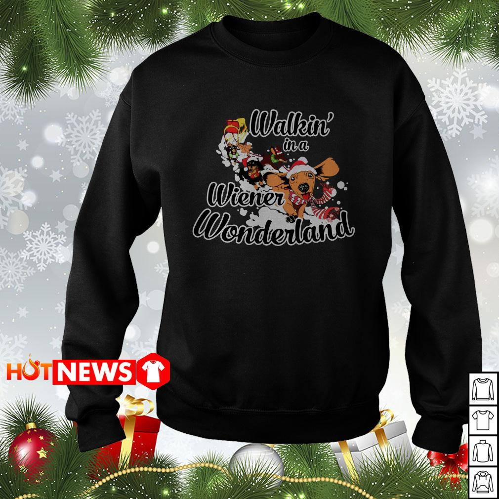 Merry Christmas Dachshund walkin' in a wiener wonderland ugly sweater, shirt