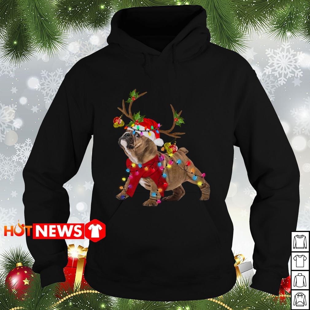 Pug Reindeer Christmas light Hoodie