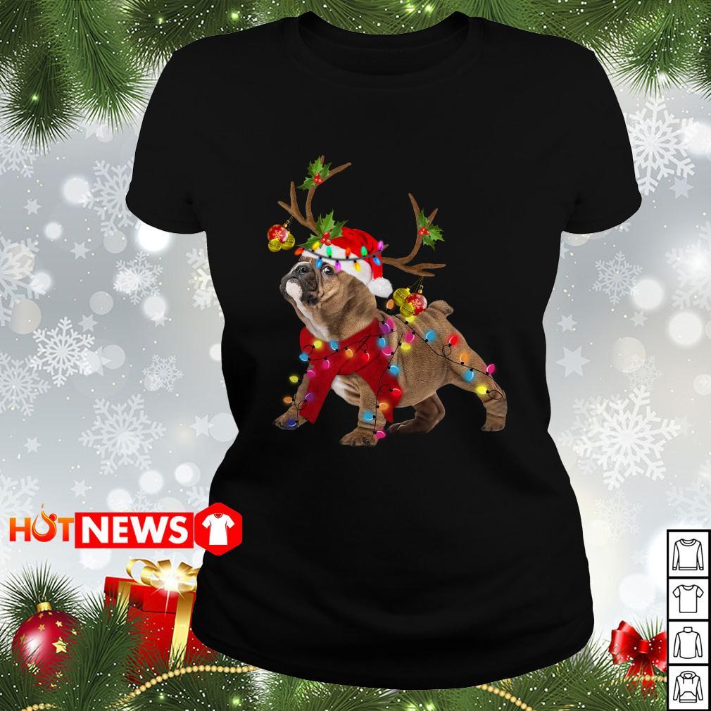 Pug Reindeer Christmas light Ladies tee