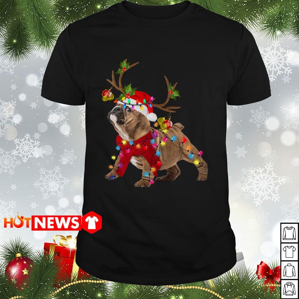 Pug Reindeer Christmas light Guys shirt