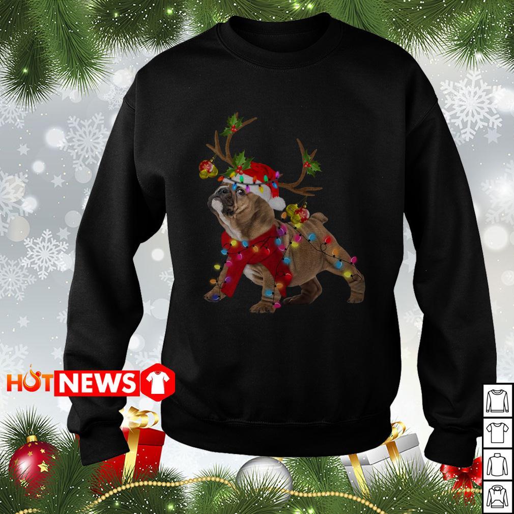 Pug Reindeer Christmas light sweater