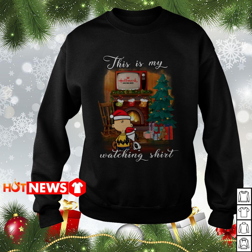 Snoopy and Charlie Brown this is my Hallmark Christmas movies watching sweater
