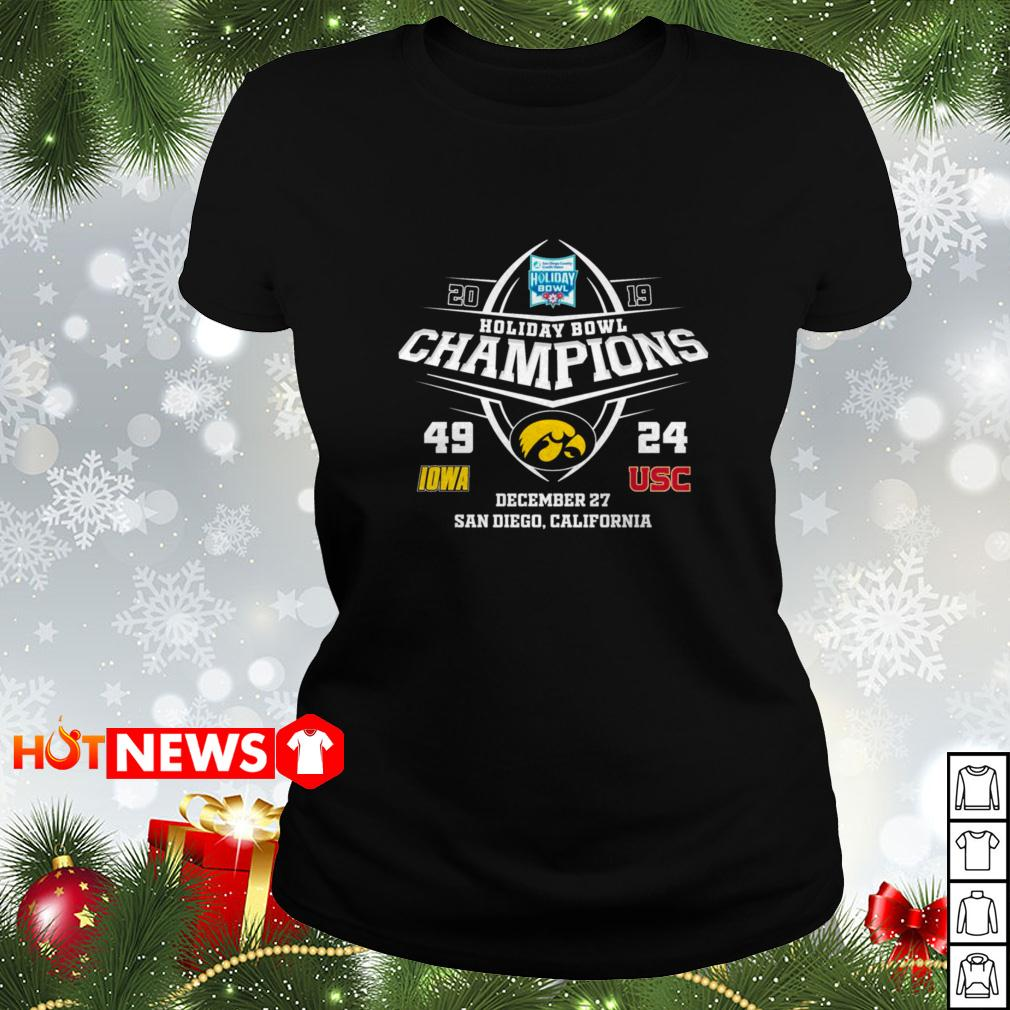 2019 Holiday Bowl Champions 49 IOWA 24 USC Ladies tee