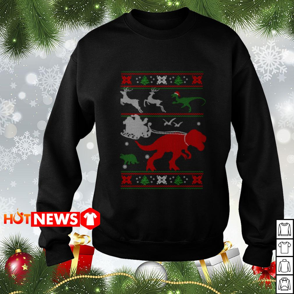 T-Rex reindeer Christmas sweater